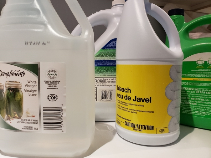 Bleach and vinegar should only be together on the shelf!