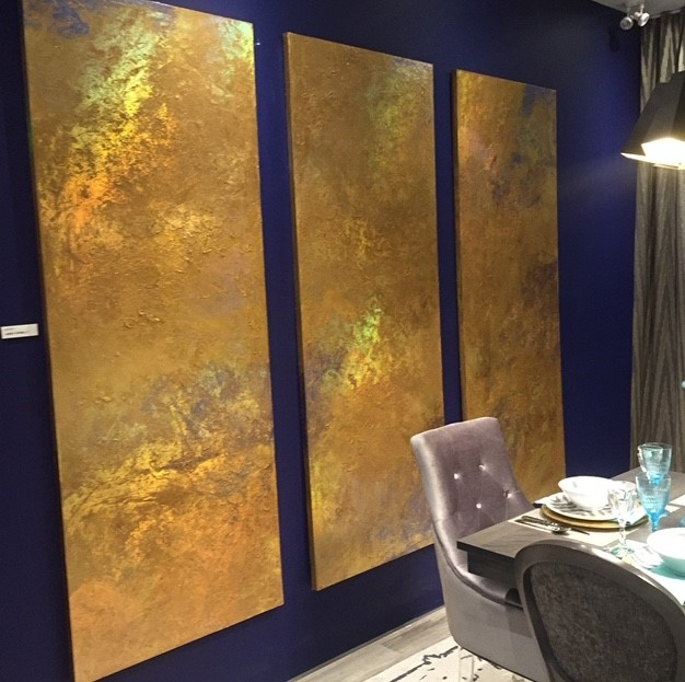 Floating panels, an art installation in the model home at the National Home Show, were created out of old slab doors.