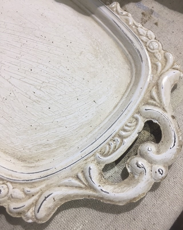 Jimmy found this shabby chic tray at a Value Village. It was an old worn out silver plate piece that he picked up for about two dollars!